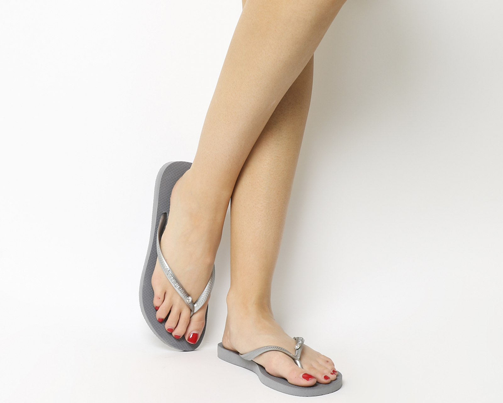 7b2dbda92677 Sentinel Womens Havaianas Slim Crystal Glamour Steel Grey Sandals