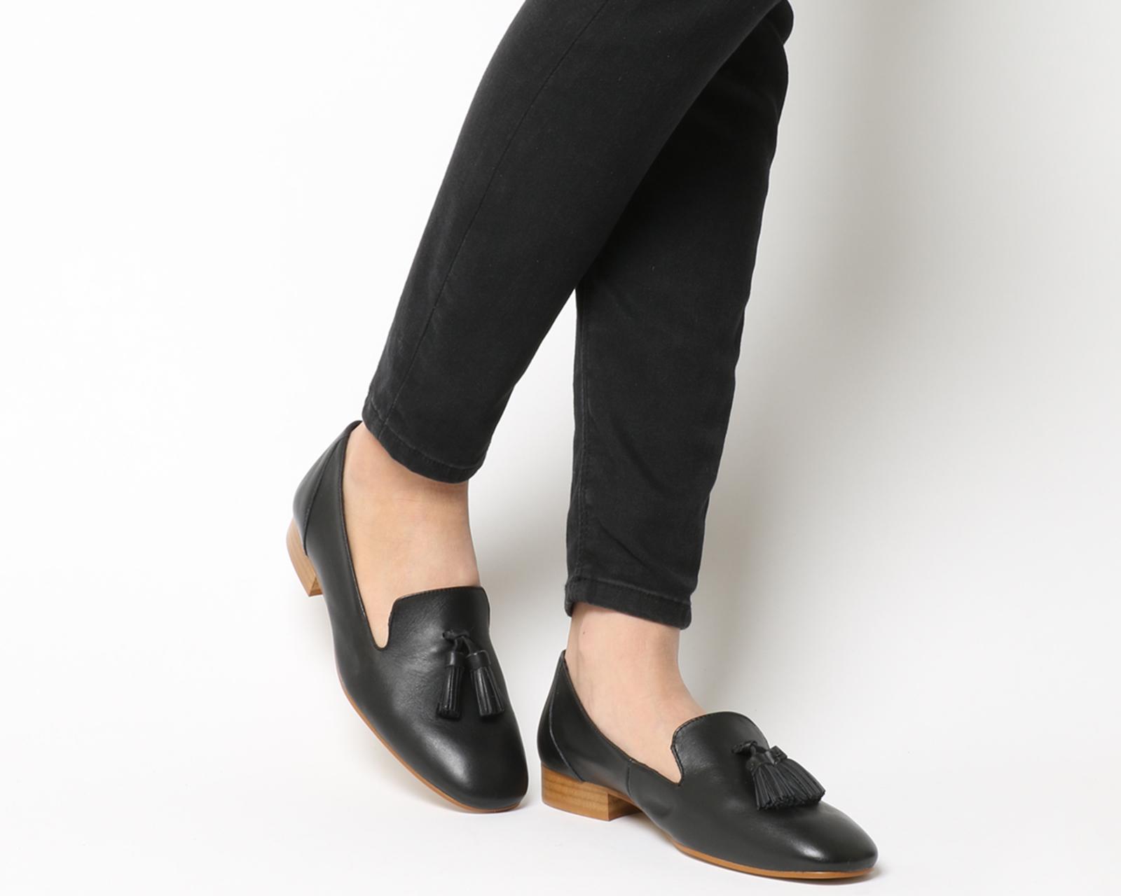 Womens Office Flask Square Toe Toe Toe Tassel Loafers BLACK Flats f56c0a