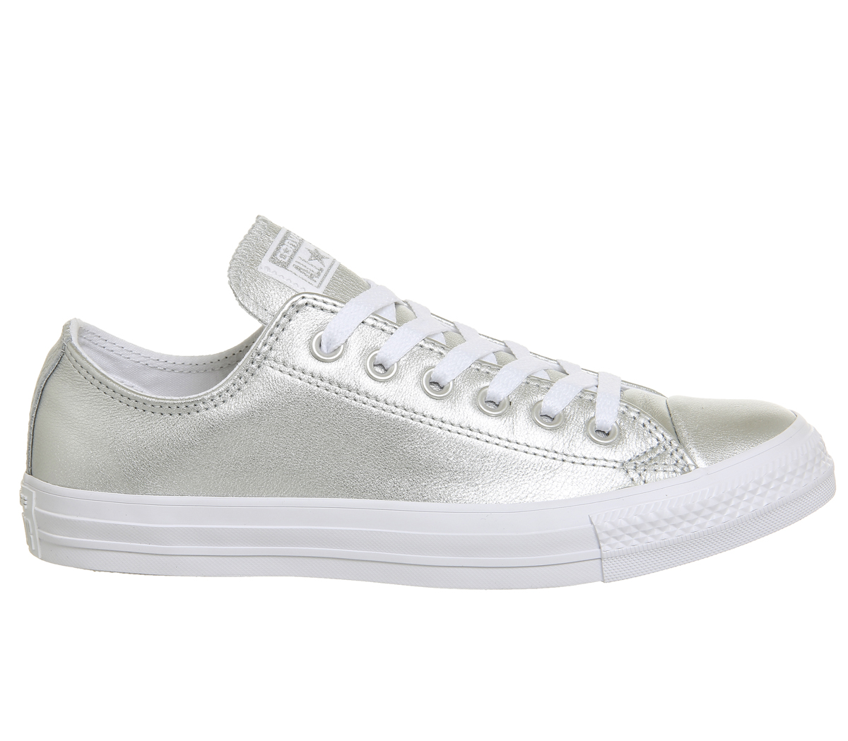 c110e7d13ef19 Sentinel Womens Converse All Star Low Leather Pure Silver White Trainers  Shoes