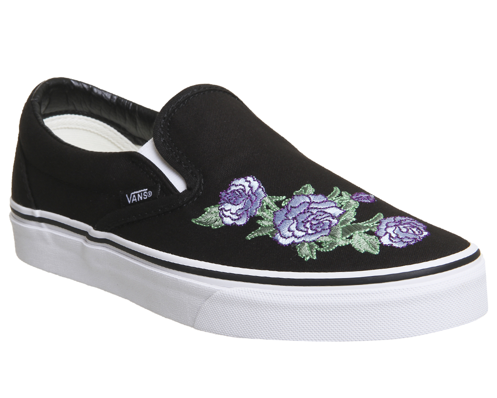 9980acf34a01fb Image is loading Womens-Vans-Vans-Classic-Slip-On-Trainers-BLACK-