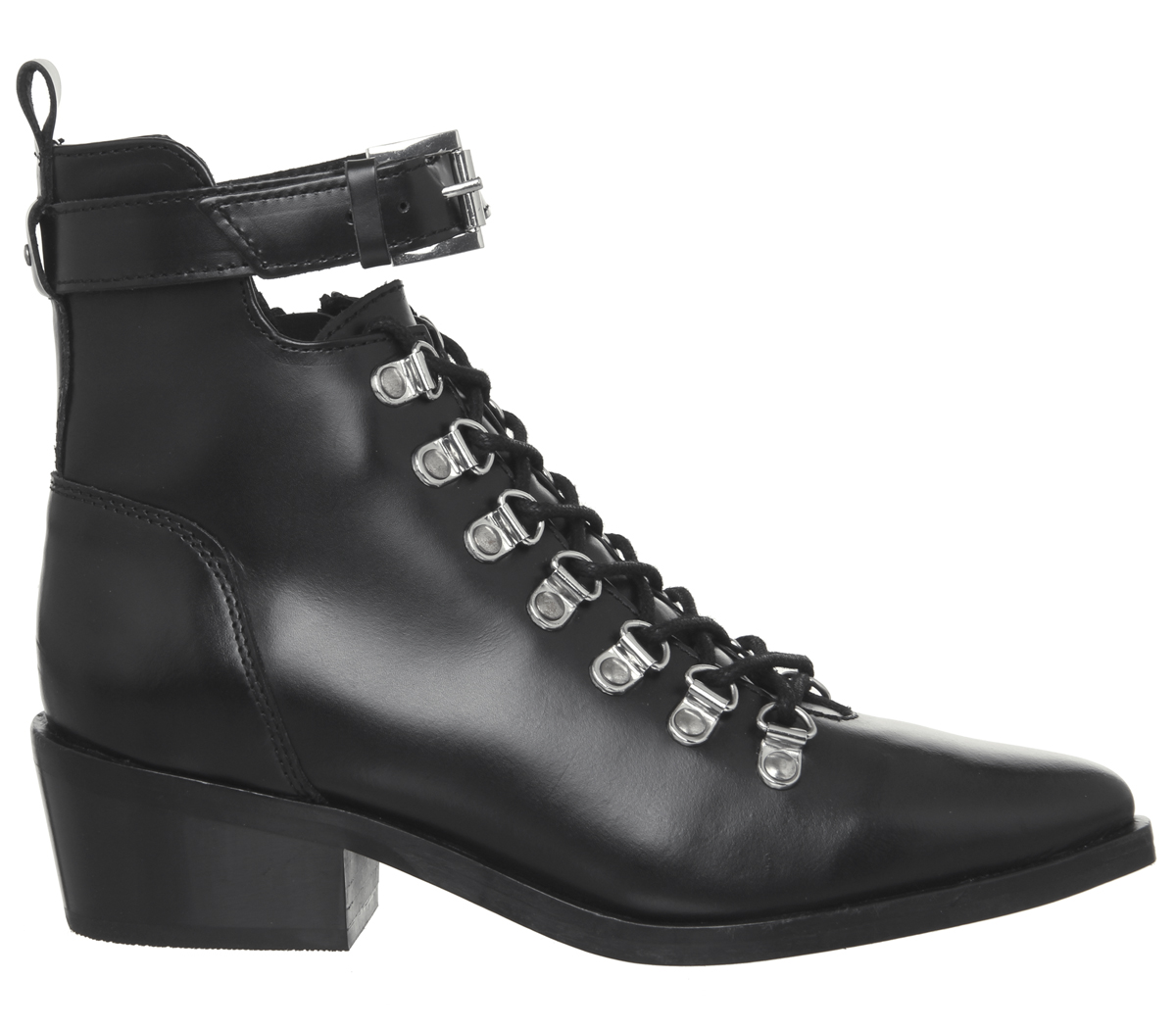 Womens-Office-Apocalypse-Lace-Detail-Point-Boots-Black-Leather-Boots thumbnail 6