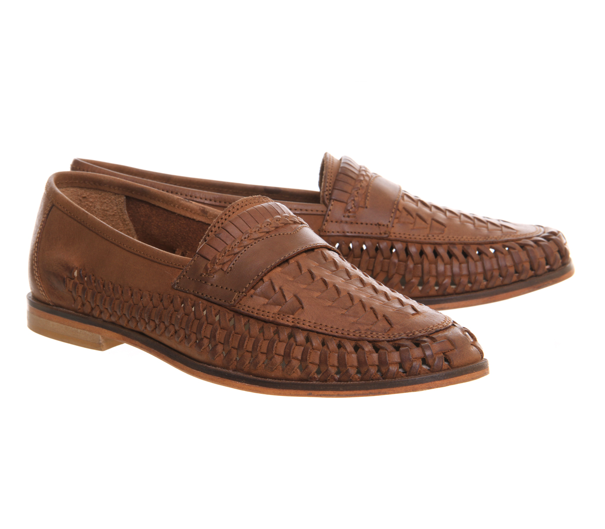 Mens Office Bow Weave Slip On Loafers Tan Washed Leather Casual ... 5d00a959153