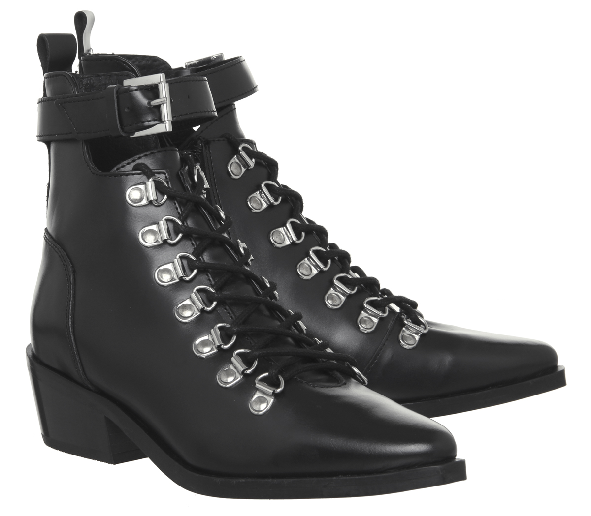 Womens-Office-Apocalypse-Lace-Detail-Point-Boots-Black-Leather-Boots thumbnail 12