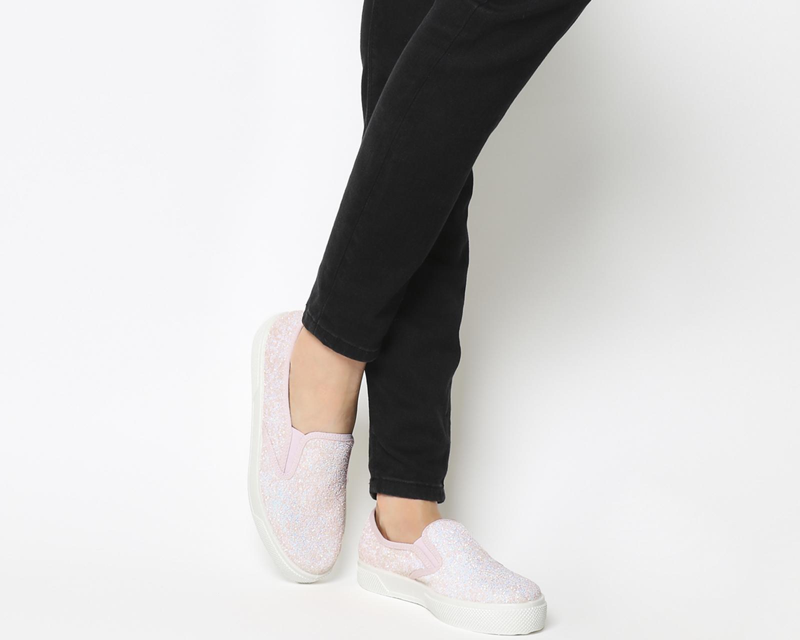 b790b2fc2345 Dettagli su Da Donna Ufficio Kicker Slip On Scarpe da ginnastica Luce Rosa  Glitter Scarpe Basse- mostra il titolo originale