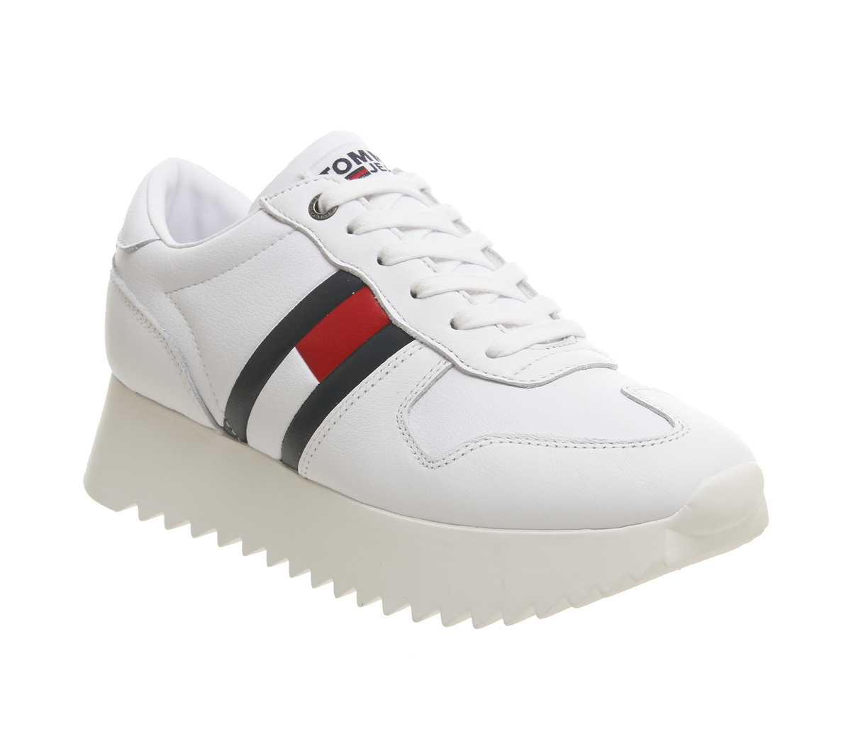 40d9a71b52c Sentinel Womens Tommy Hilfiger High Cleated Sneakers White Red Blue  Trainers Shoes