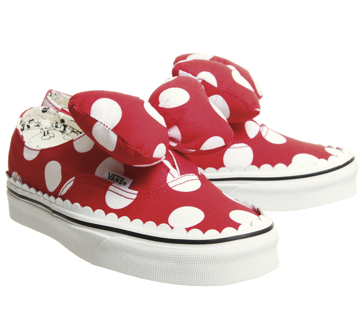 600513afd8a Details about Womens Vans Authentic Trainers Minnies Bow True White Disney  Trainers Shoes