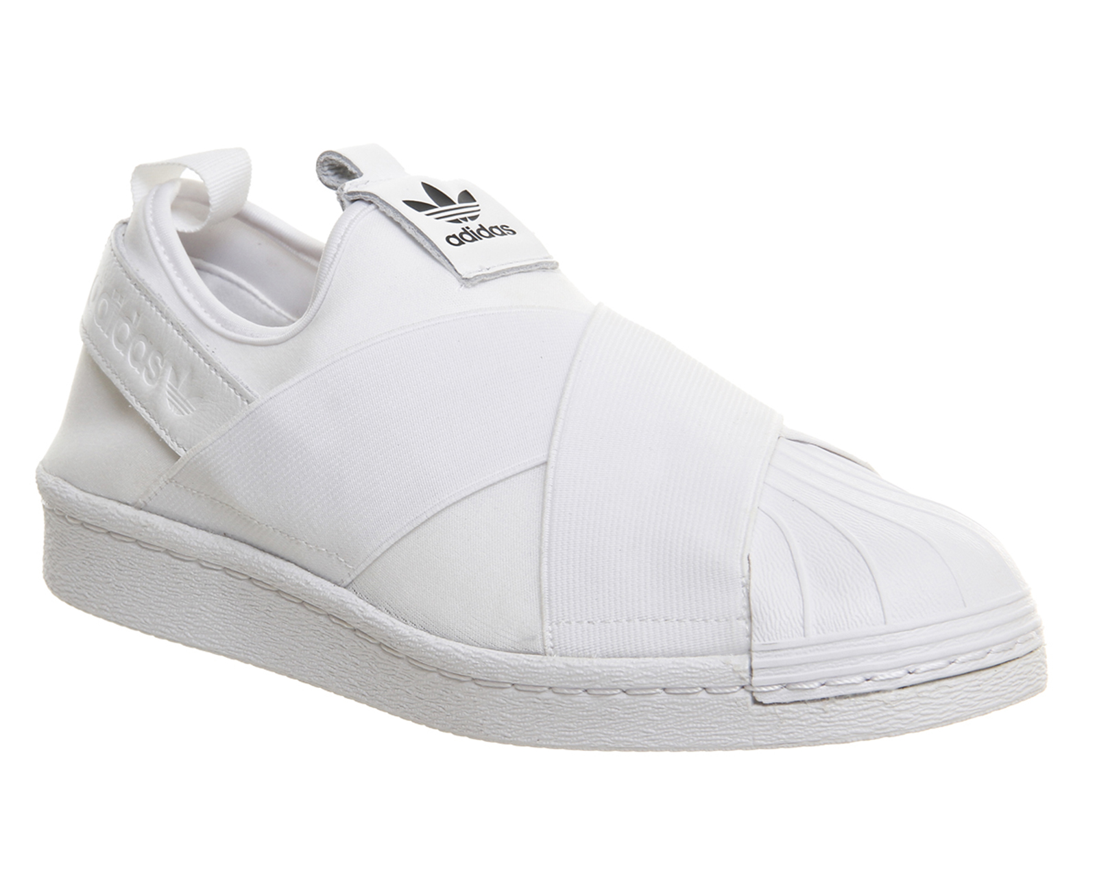 Womens-Adidas-Superstar-Slip-On-WHITE-MONO-Trainers-