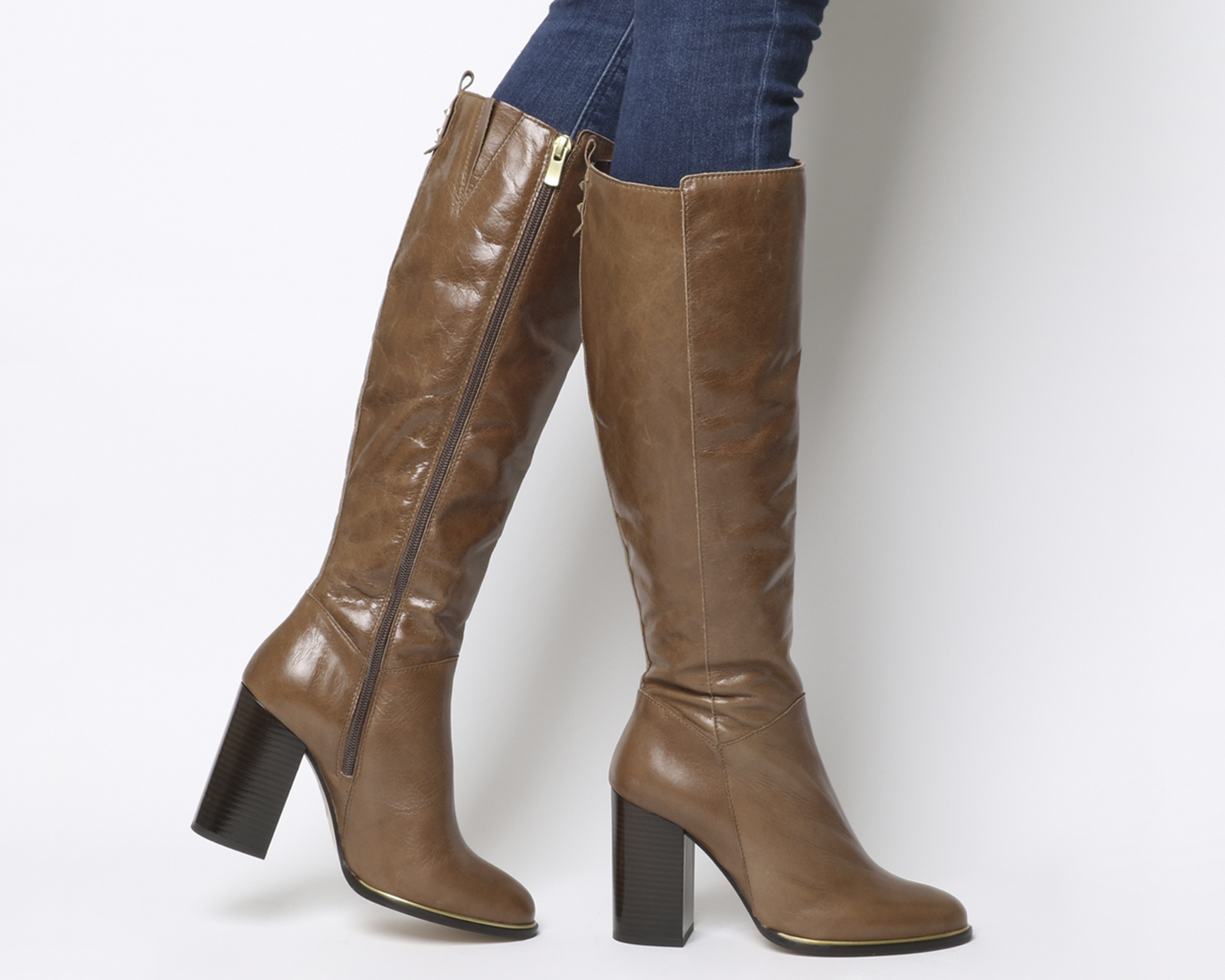6c90be79a95e Sentinel Womens Office Kirby Smart Block Heel Knee Boots Tan Leather Boots