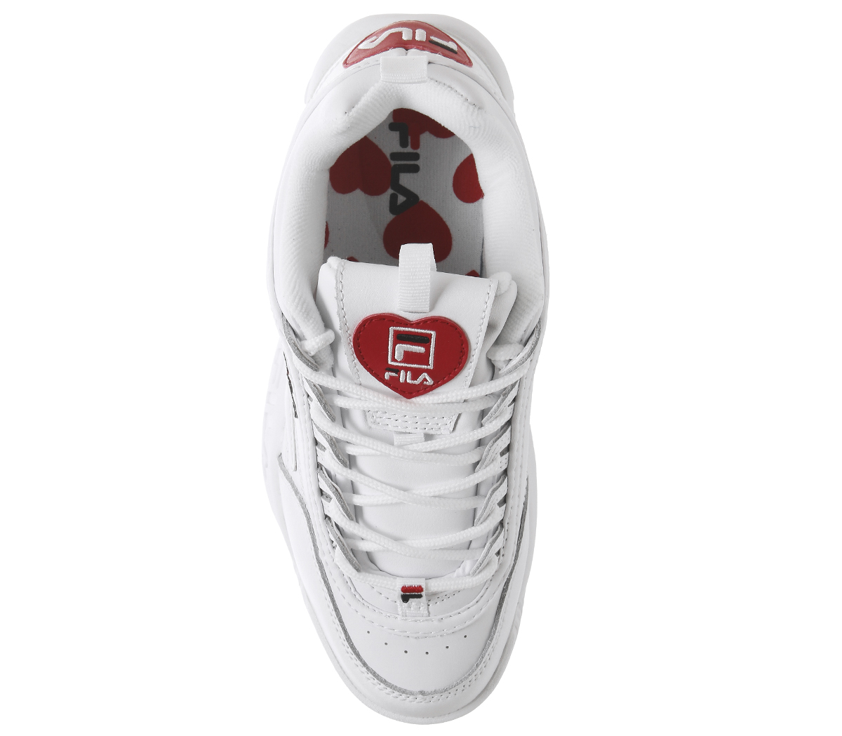 aee7afedca15 Womens Fila Disruptor Ii Trainers White Heart Exclusive Trainers ...