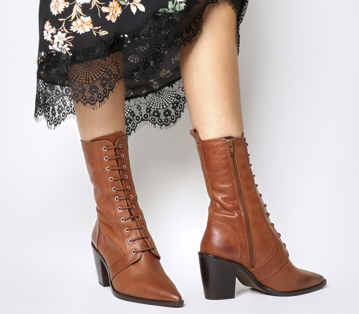 Womens Office Boots Komissioner Lace Up Calf Boots Office TAN LEATHER Boots c41885