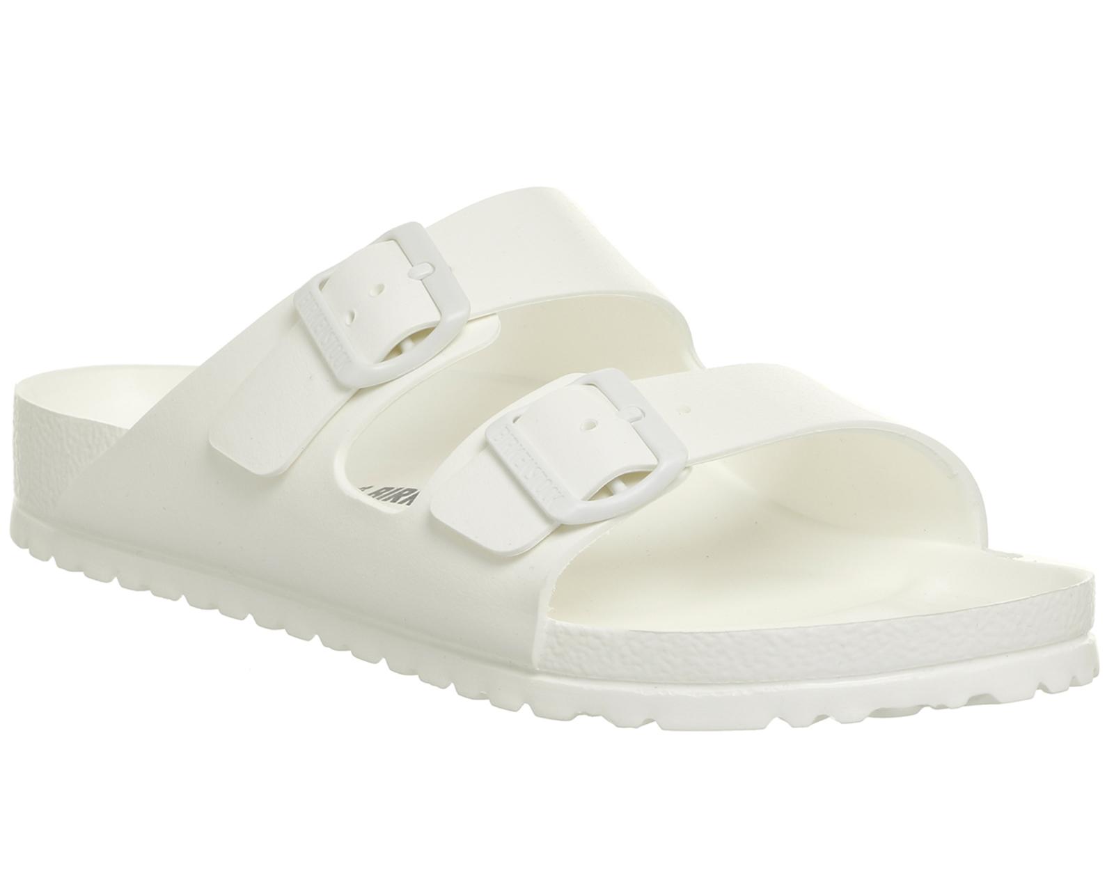 pretty nice 5c7ec 1fc91 Dettagli su Uomo Birkenstock Arizona Due Sandali con Cinturino Bianco  Sandali di Plastica