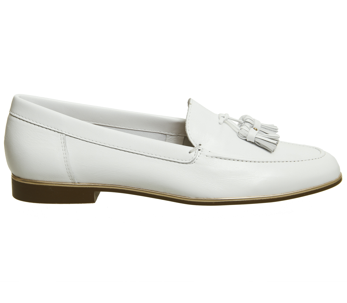 Womens Office Retro Tassel Loafers RAND WHITE WITH ROSE GOLD RAND Loafers Flats 53d829