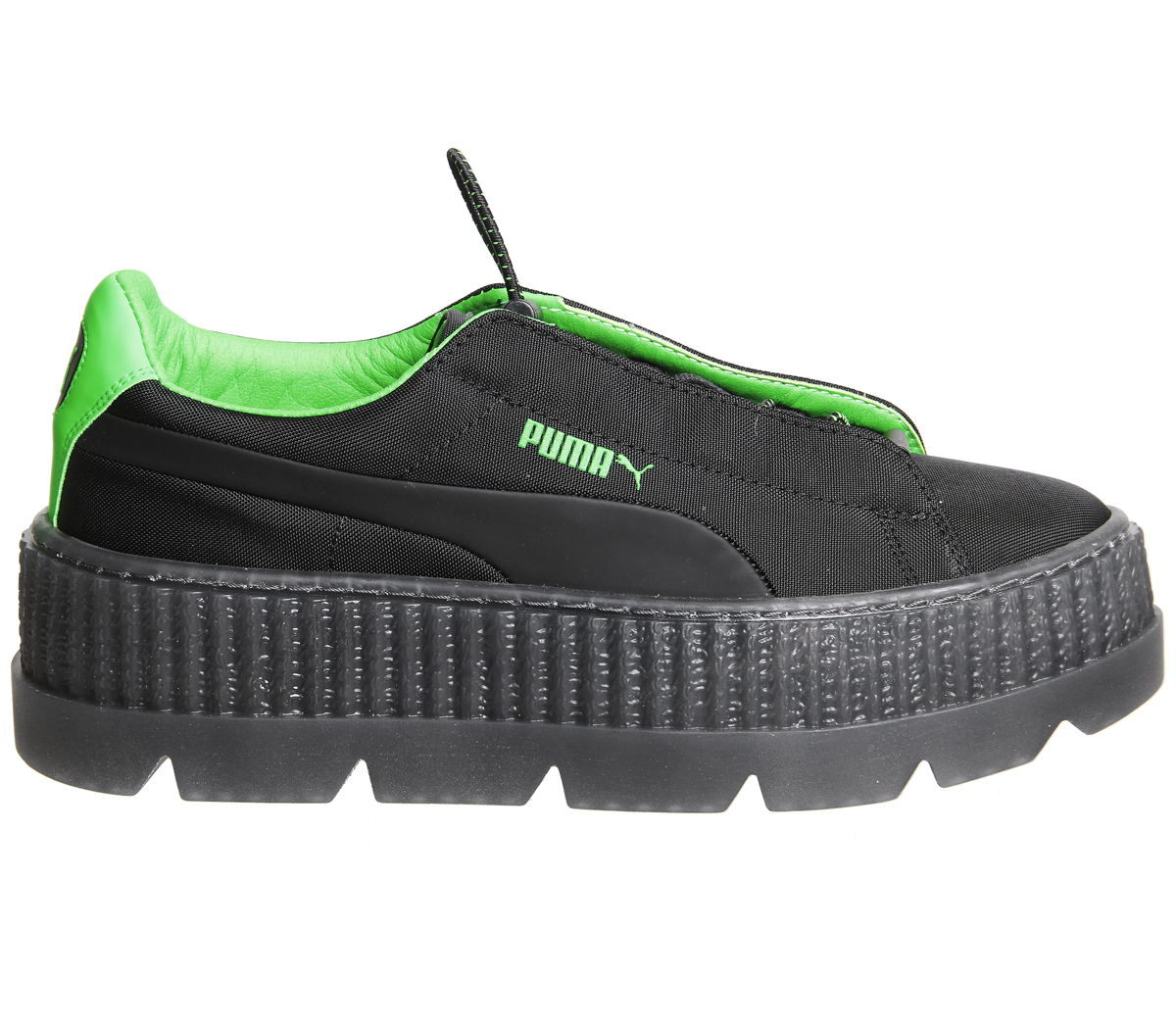 fea1a4a8cfc Sentinel Womens Puma Fenty Cleated Creepers Surf Black Green Trainers Shoes