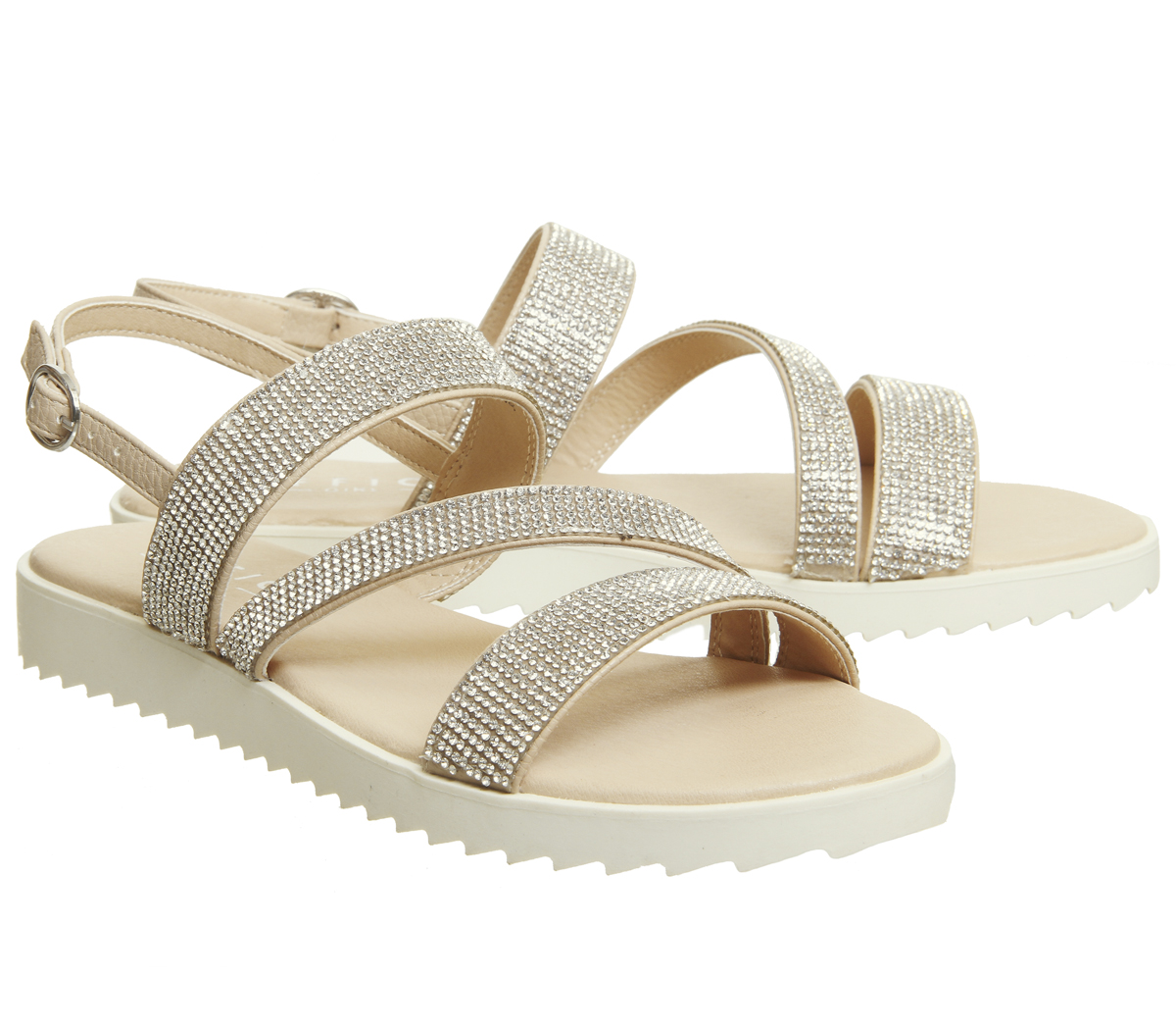 Donna Office Strappy Shake Embellished Strappy Office Sandals NUDE Sandals 2ccd31