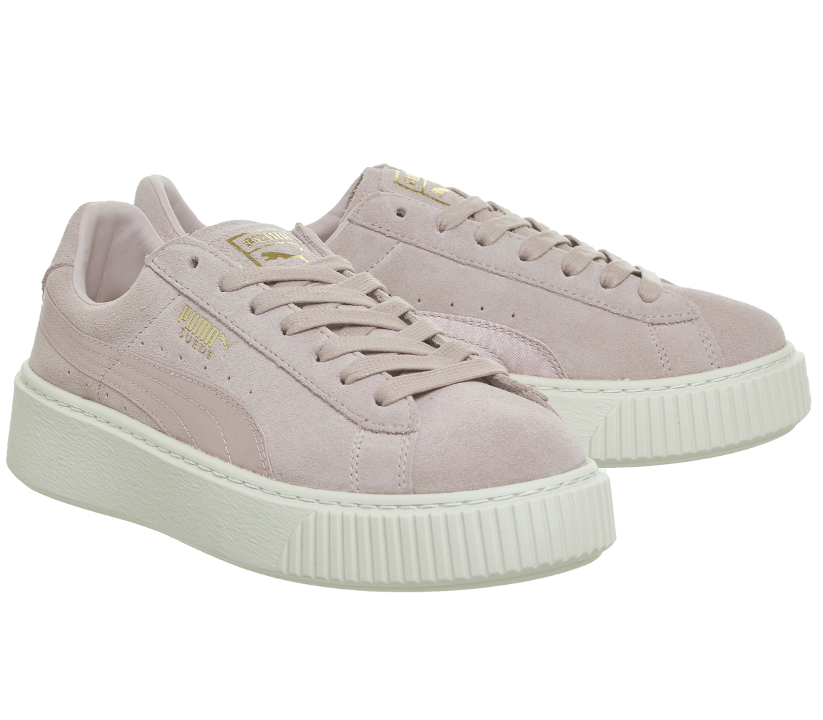 buy popular 4052d f2df0 Details about Womens Puma Suede Platform Trainers SILVER PINK GOLD SATIN  Trainers Shoes