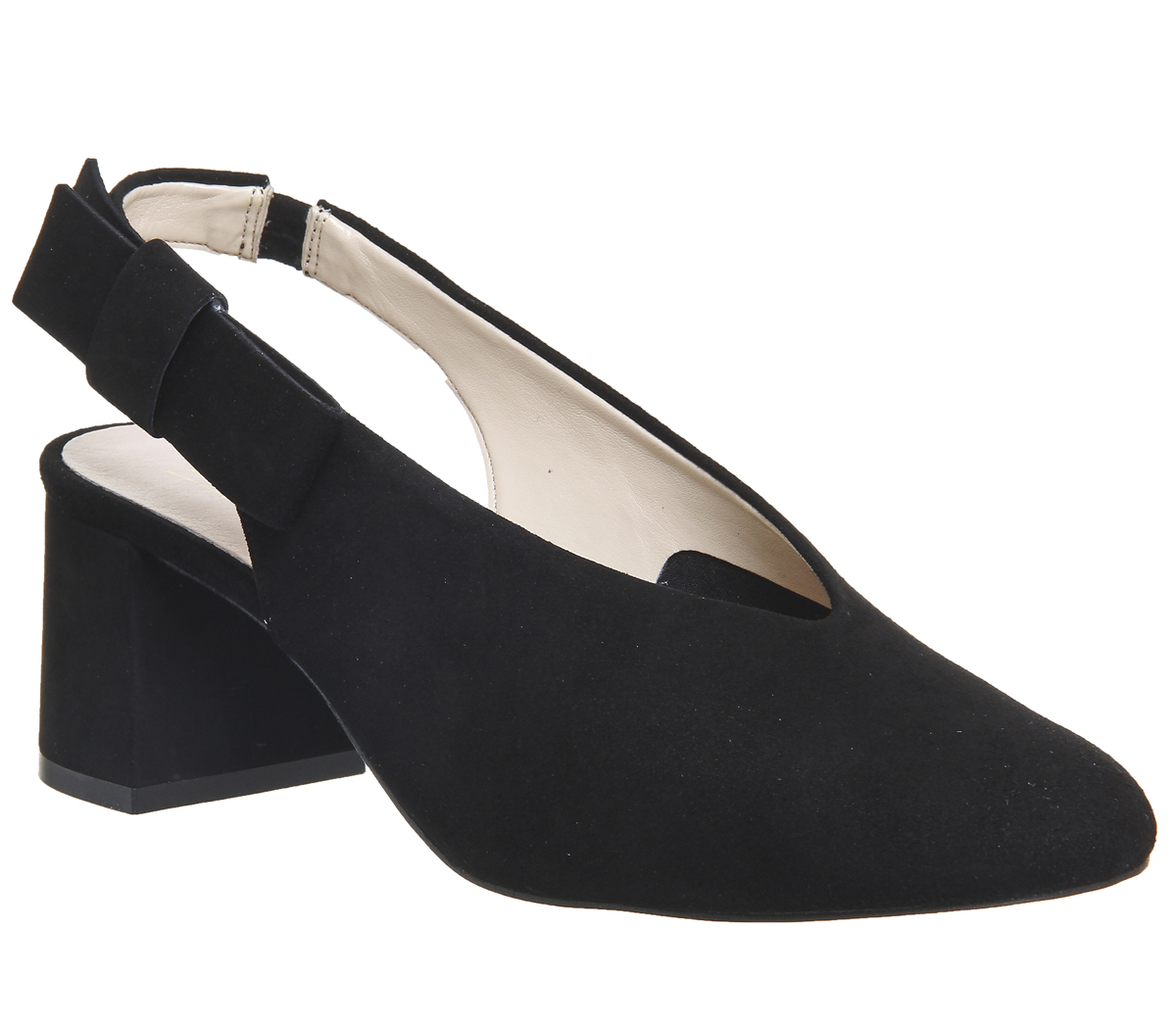 Womens-Office-Magical-Bow-Slingback-Heels-Black-Suede-Heels thumbnail 3