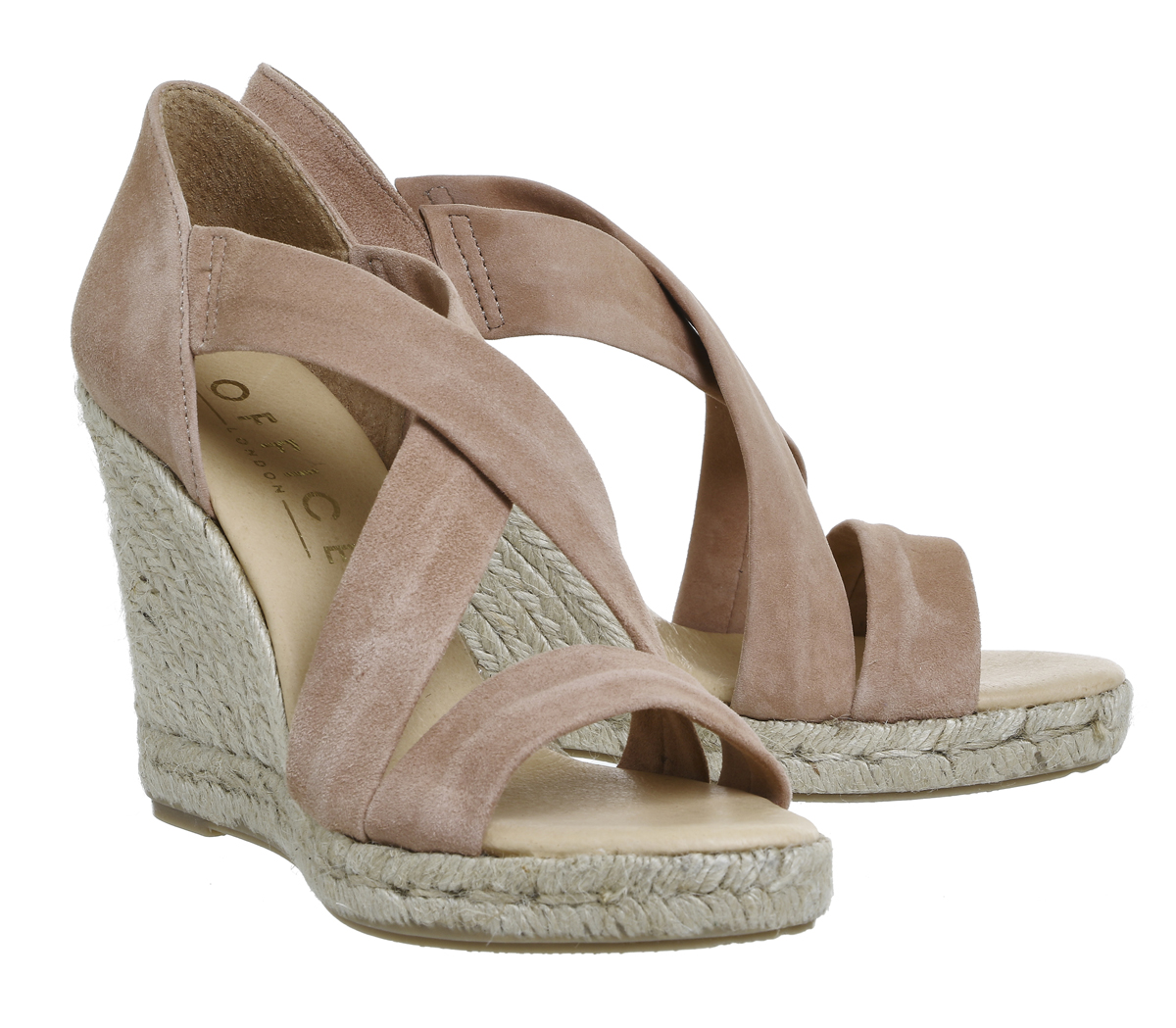 370fc533985 Womens Office Holiday Wedge Espadrilles NUDE KID SUEDE Heels