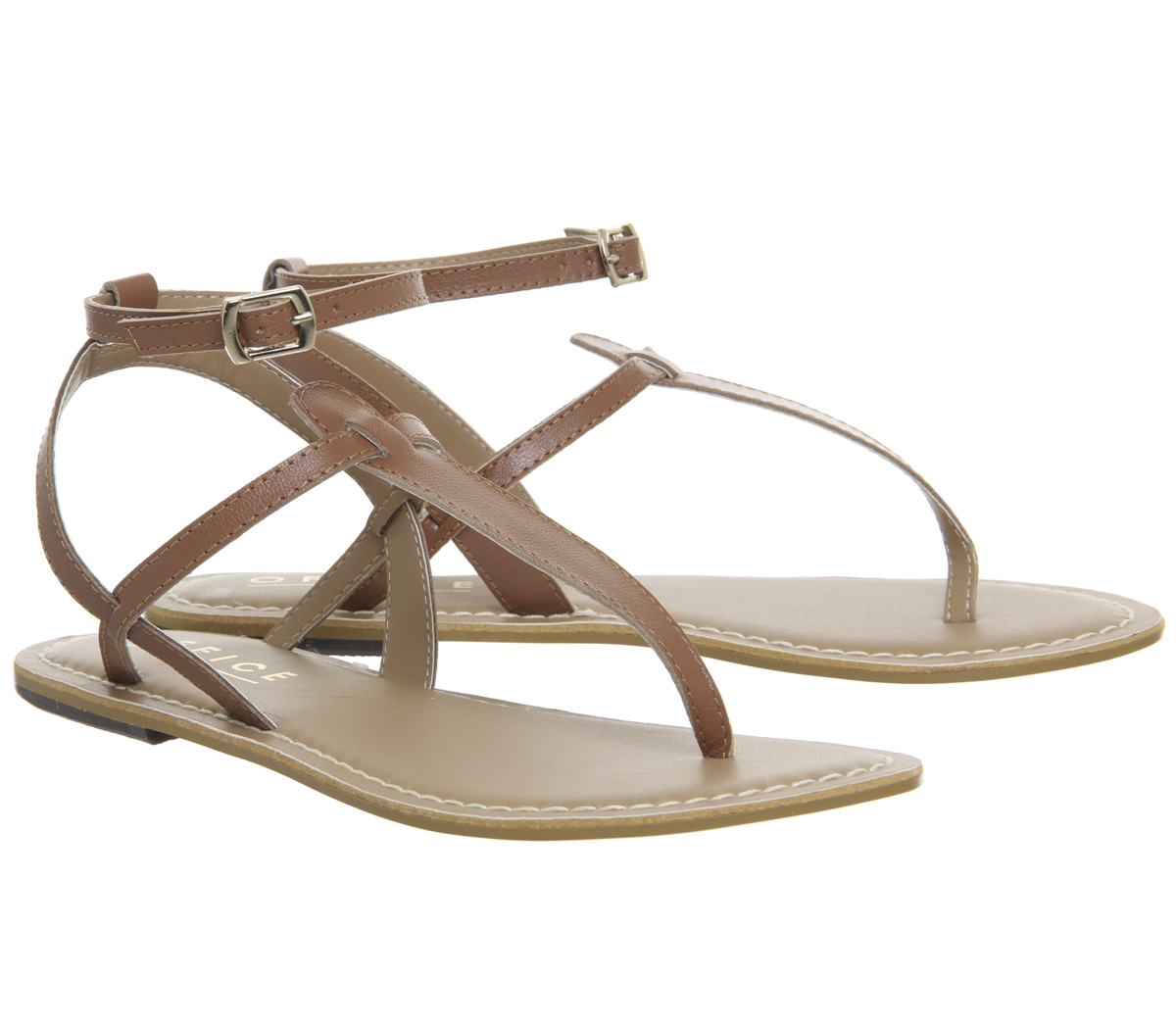 bbdbbc550e4 Womens Office Salsa Ankle Strap Toe Post Sandals Tan Leather Sandals ...