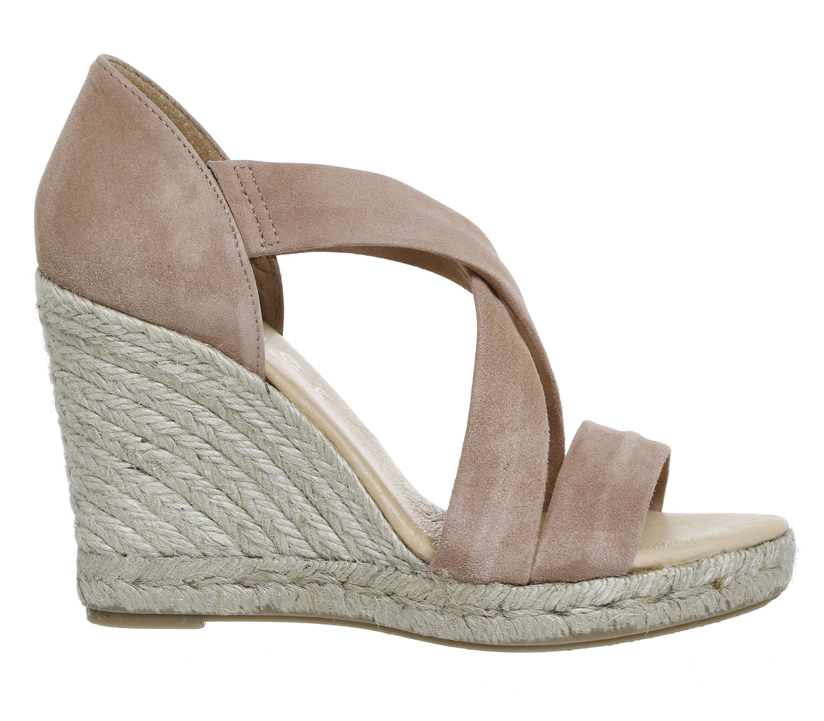 0c2e954680f Sentinel Womens Office Holiday Wedge Espadrilles Nude Kid Suede Heels