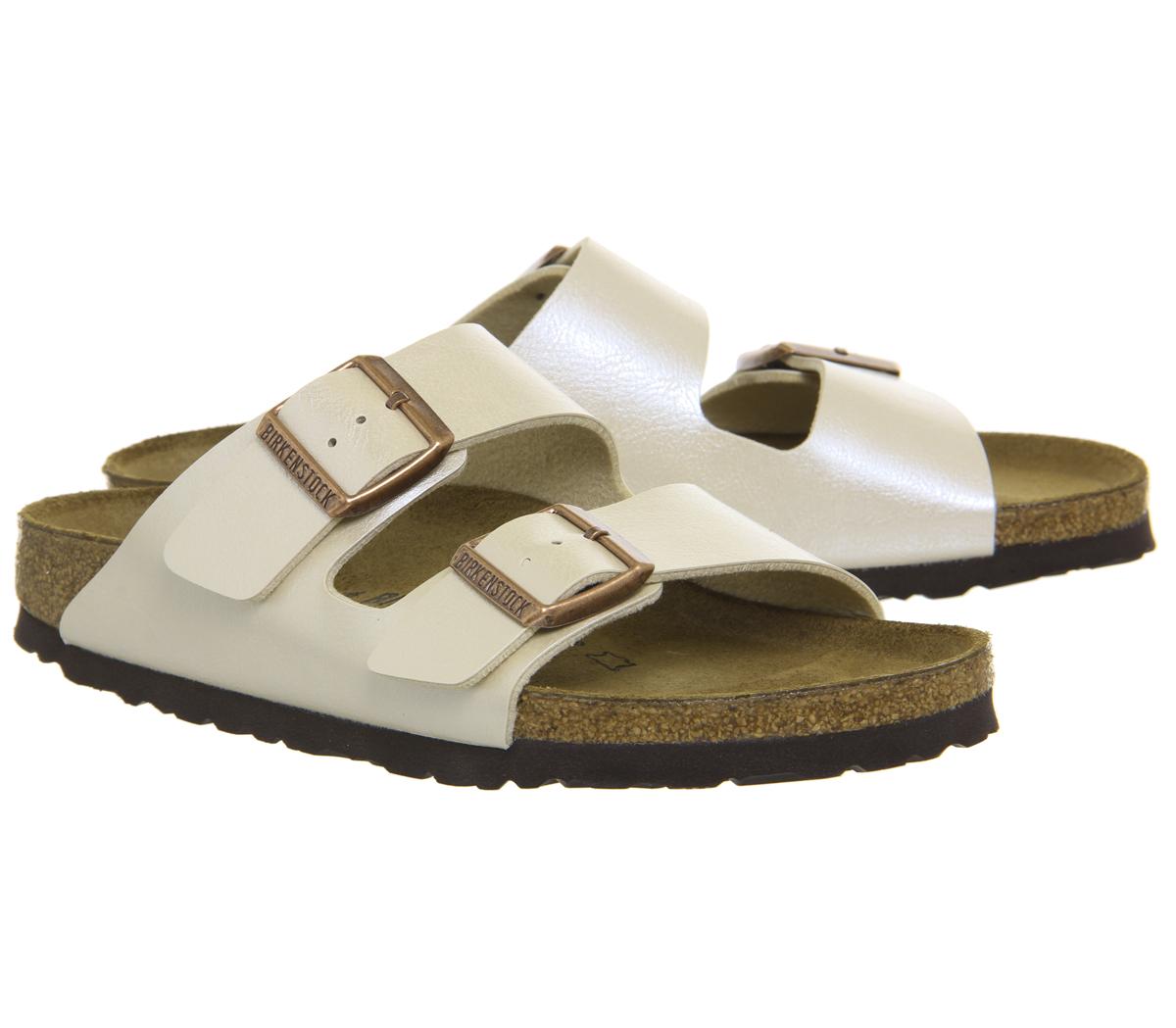 347a7bae7b0 Sentinel Womens Birkenstock Arizona Two Strap Sandals Graceful Pearl White  Sandals