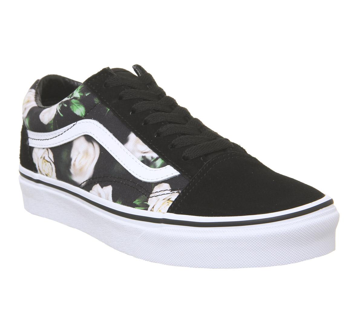 95a8854a4 CENTINELA Instructores de mujer Vans Old Skool negro Floral verdaderos  entrenadores blanco zapatos