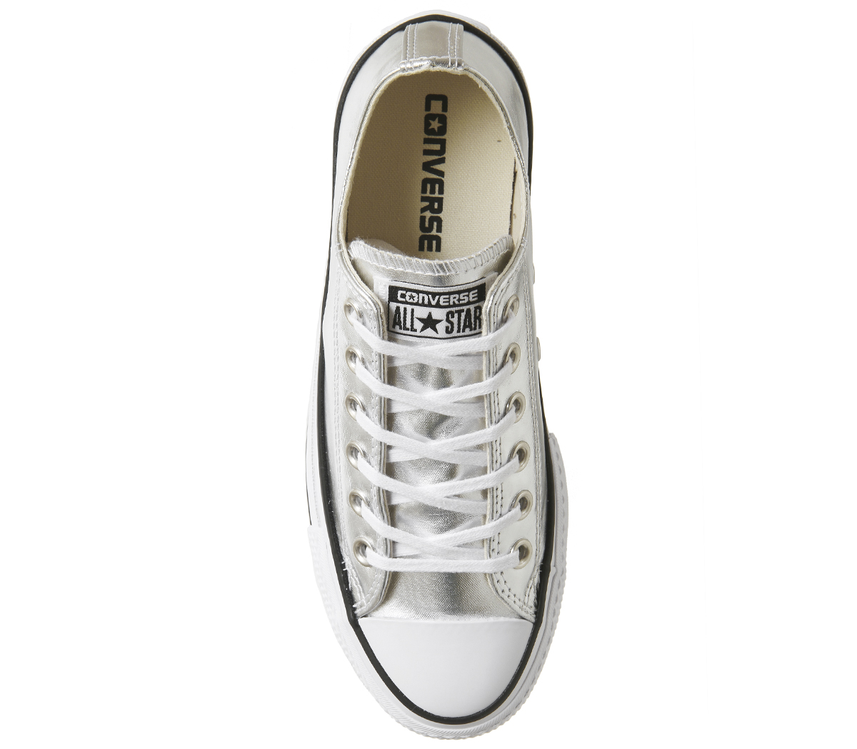e6f217be553b Womens Converse All Star Low Platforms Silver Black White Trainers ...