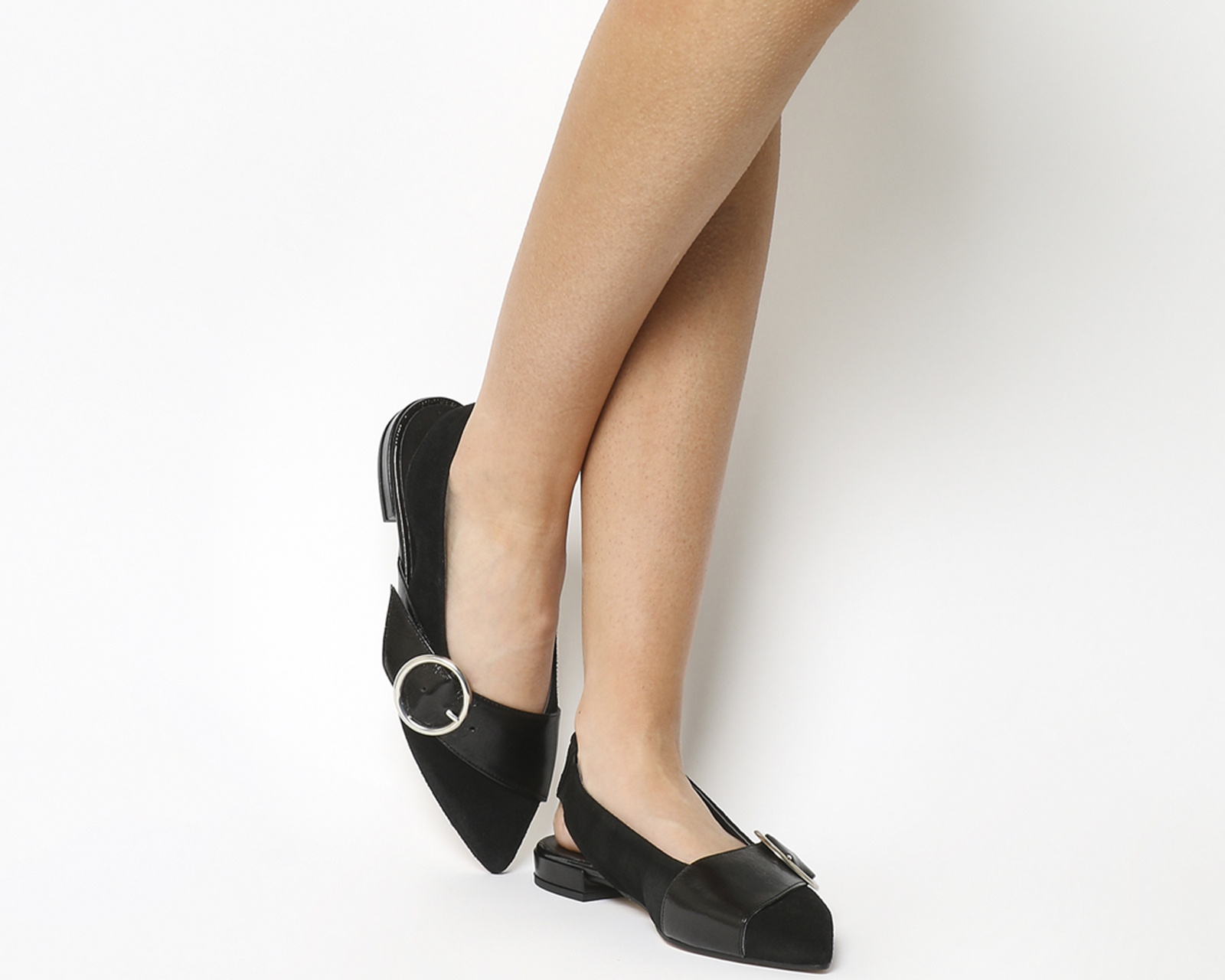 Womens Office Fantastic Flats Black Leather Flats