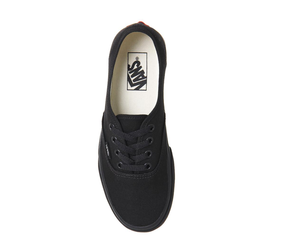 d6eb0031592 Sentinel Mens Vans Authentic Black Mono Trainers Shoes