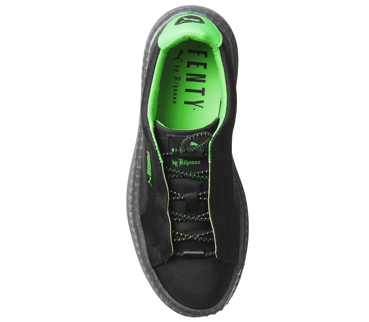 7712e4367f0 Womens Puma Fenty Cleated Creepers Surf Black Green Trainers Shoes ...