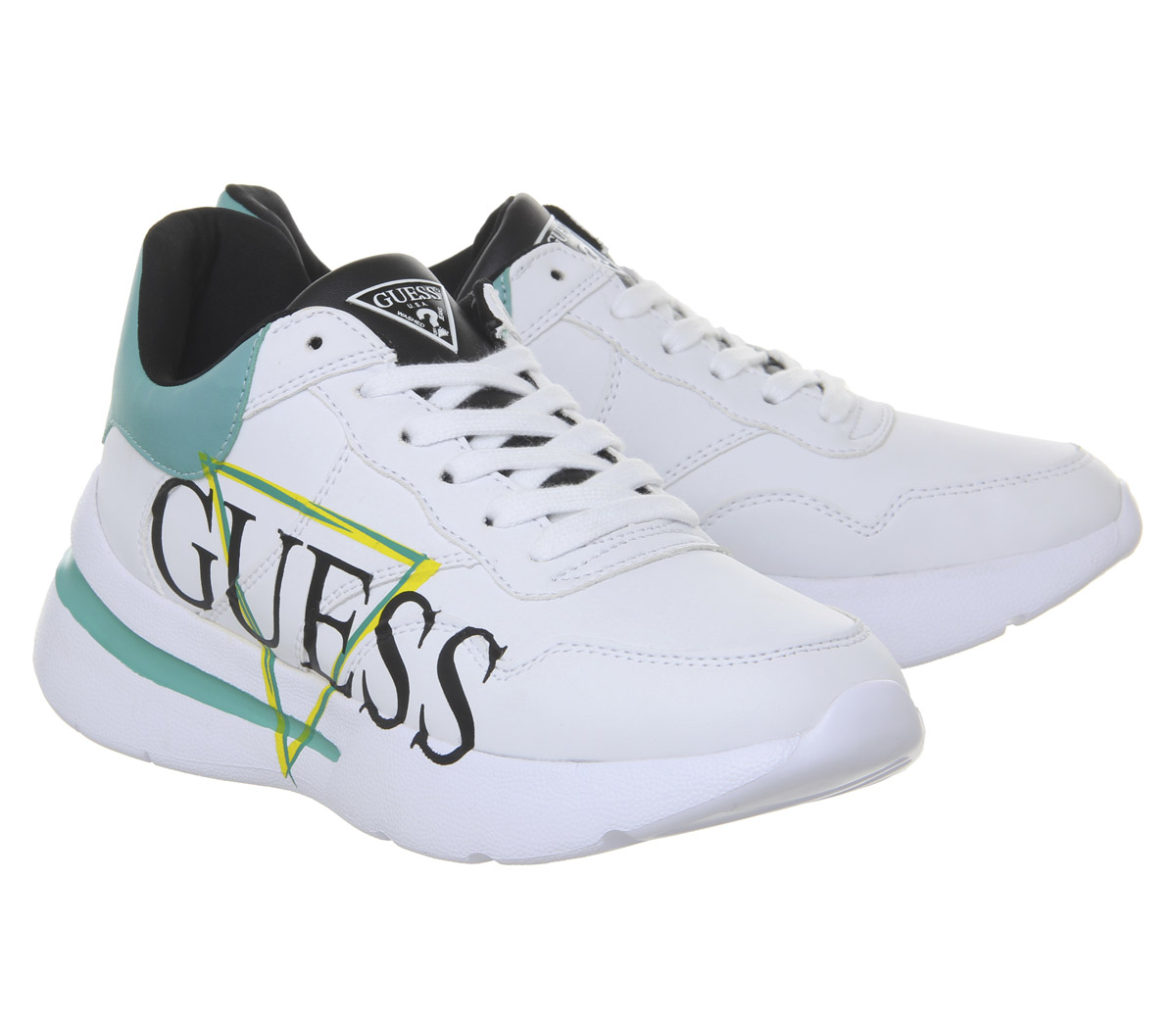 Womens Guess Milez Milez Milez Logo Sneakers White Grey bluee Multi Flats 7c7ce2
