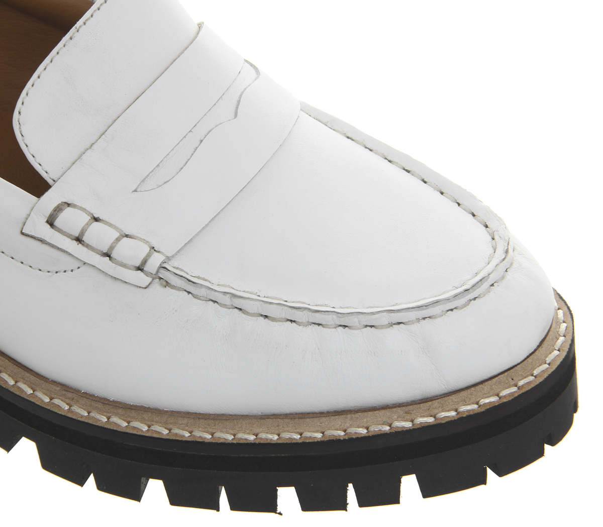 Womens Office Ferocious Chunky Chunky Chunky Cleated Loafers White Leather Flats 452eb1