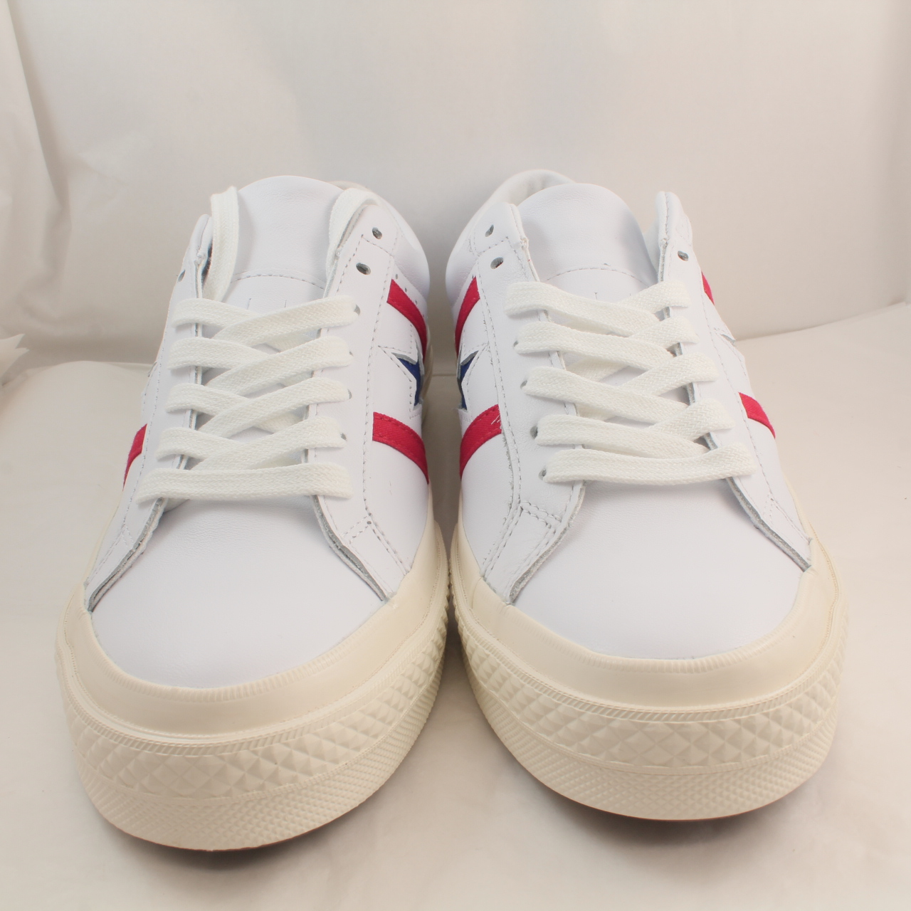 Mens Converse White Leather Lace Up Trainers Size UK 8 *Ex
