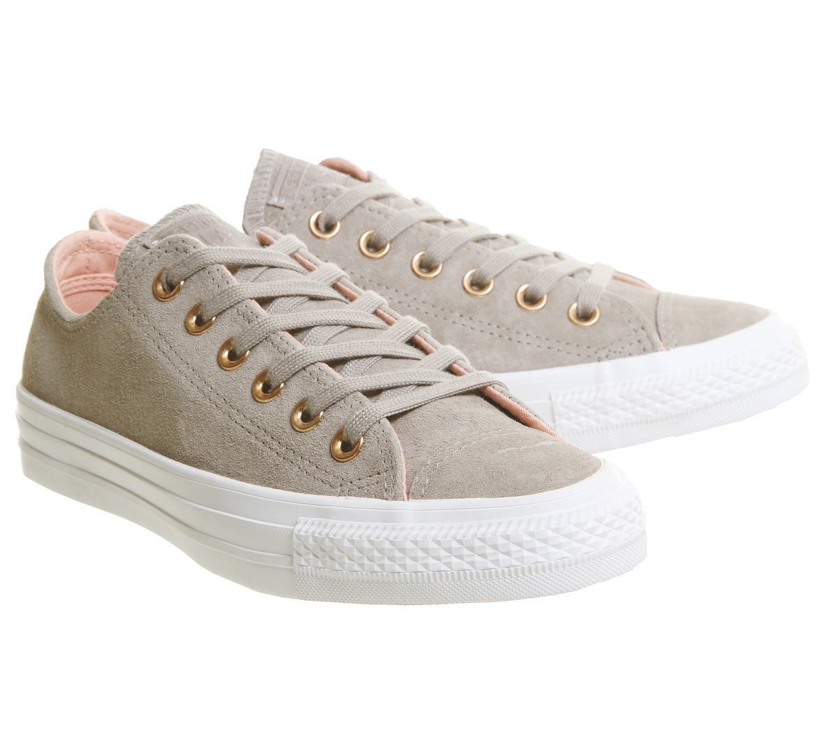 dff2869a8eaa Womens Converse Allstar Low Leather Malted Pale Coral White Trainers ...