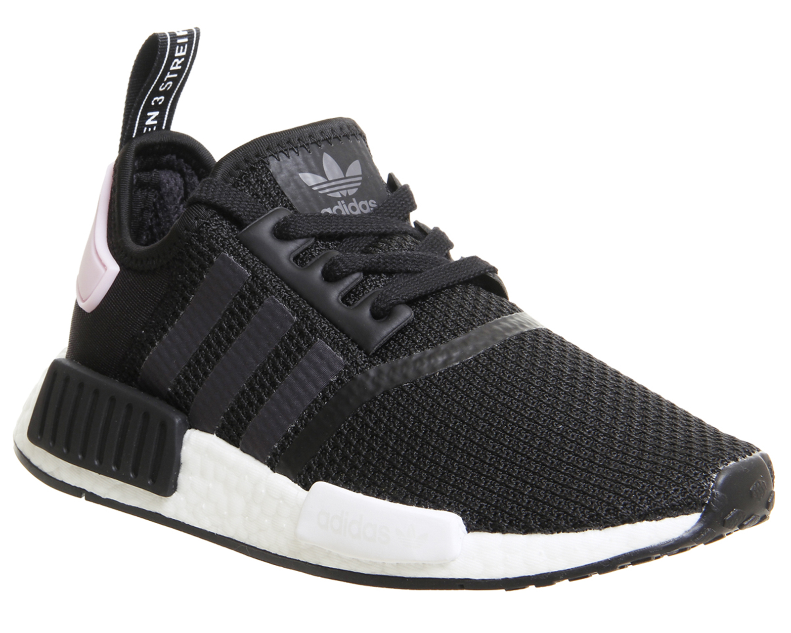 Sentinel Womens Adidas Nmd R1 Trainers Core Black White Clear Pink Trainers  Shoes 4646bd4441