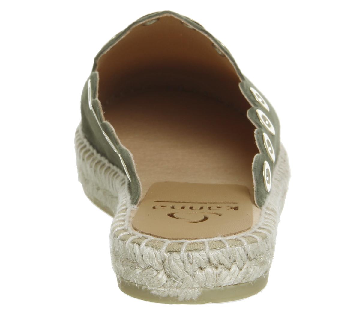 Mujer-Kanna-Dora-orificios-Zapatos-Sin-Talon-Caqui-Ante-Planos