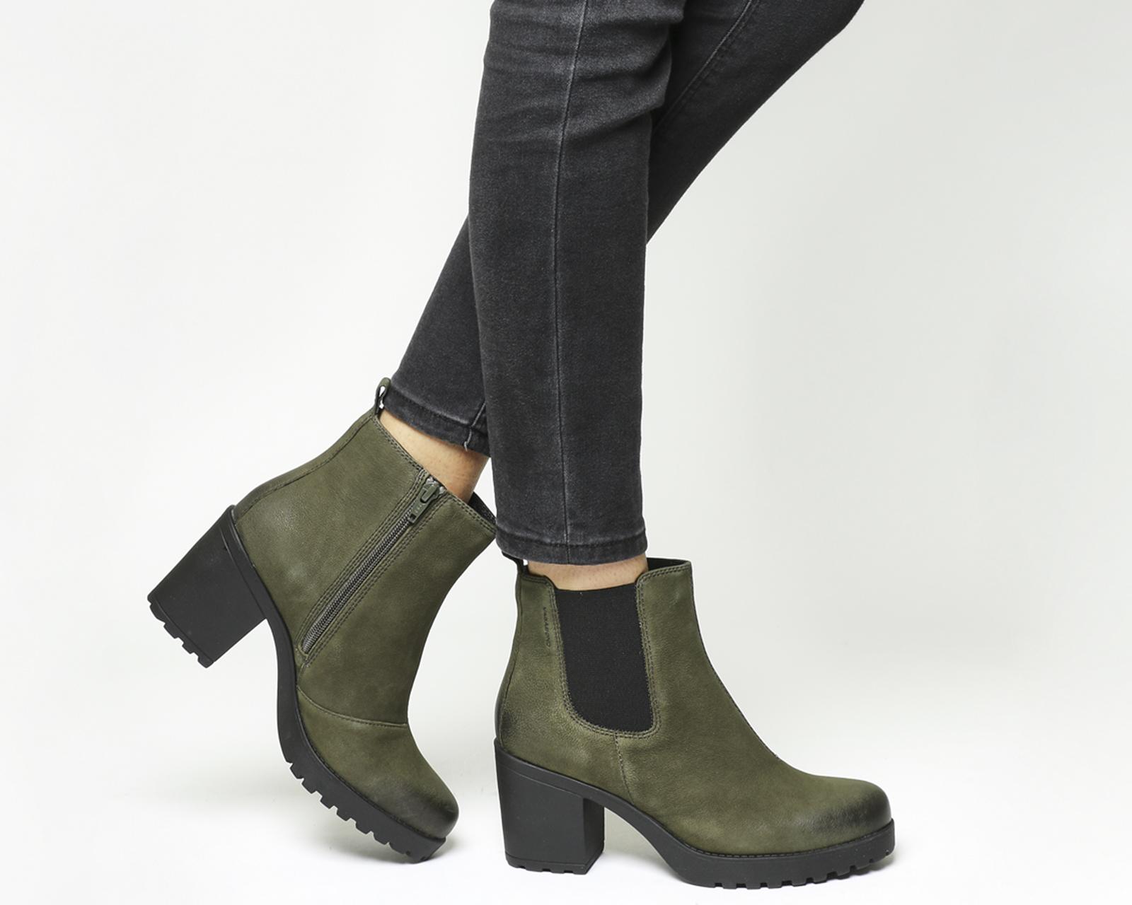 7b28cb044f73 Sentinel Womens Vagabond Grace Heeled Chelsea Boots Dark Olive Nubuck Boots