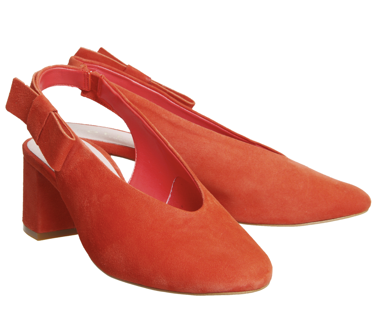 Womens-Office-Magical-Bow-Slingback-Heels-Red-Suede-Heels thumbnail 9