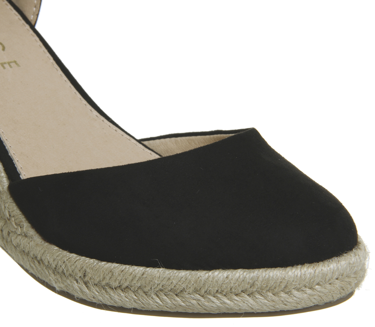 4d3c96ba62b Womens Office Marsha Closed Toe Espadrille Wedges BLACK WITH GOLD ...