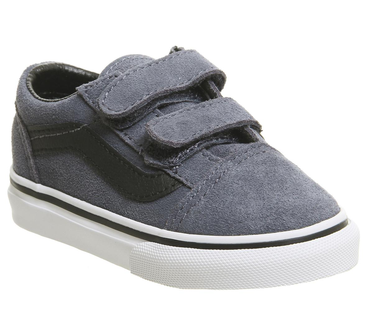 SENTINEL Bambini Vans Old Skool Toddler formatori grisaglia blu neri  bianchi bambini b6172b6e17e