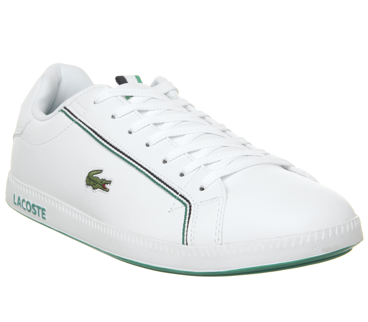015aee41a8 Sentinel Lacoste Graduate Trainers White Green Trainers Shoes