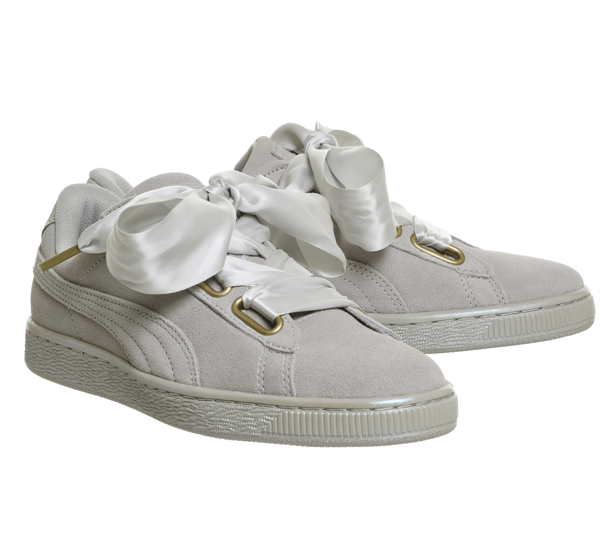 2f8946aeada37c Sentinel Womens Puma Suede Heart Grey Violet Satin Trainers Shoes