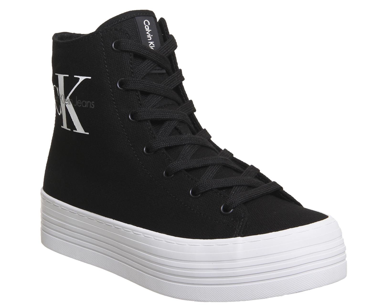 chaussures d'automne pas cher à vendre nouvelle saison Détails sur Chaussures femme Calvin Klein Zabrina montantes compensées  Baskets en Toile Noir Baskets Chaussures- afficher le titre d'origine