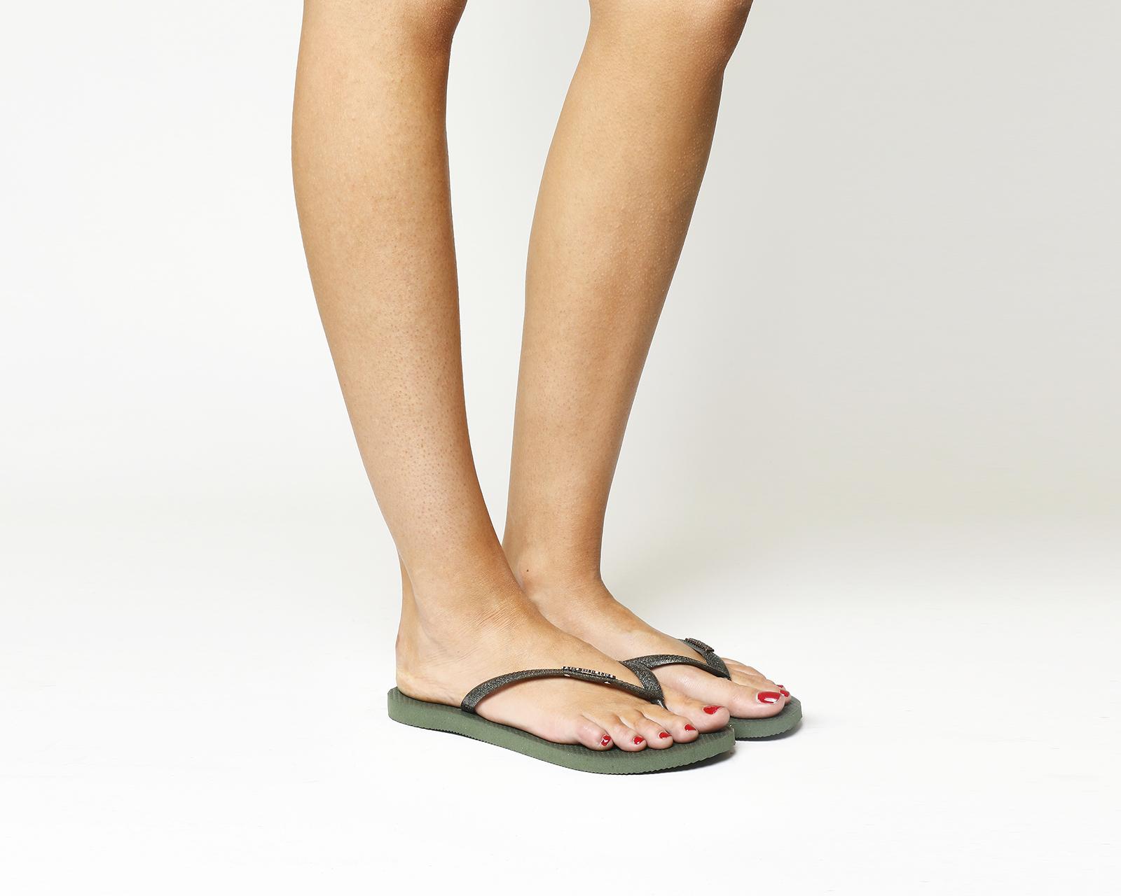 4517f65072aec Sentinel Womens Havaianas Slim Logo Metallic Flip Flops GREEN OLIVE Sandals