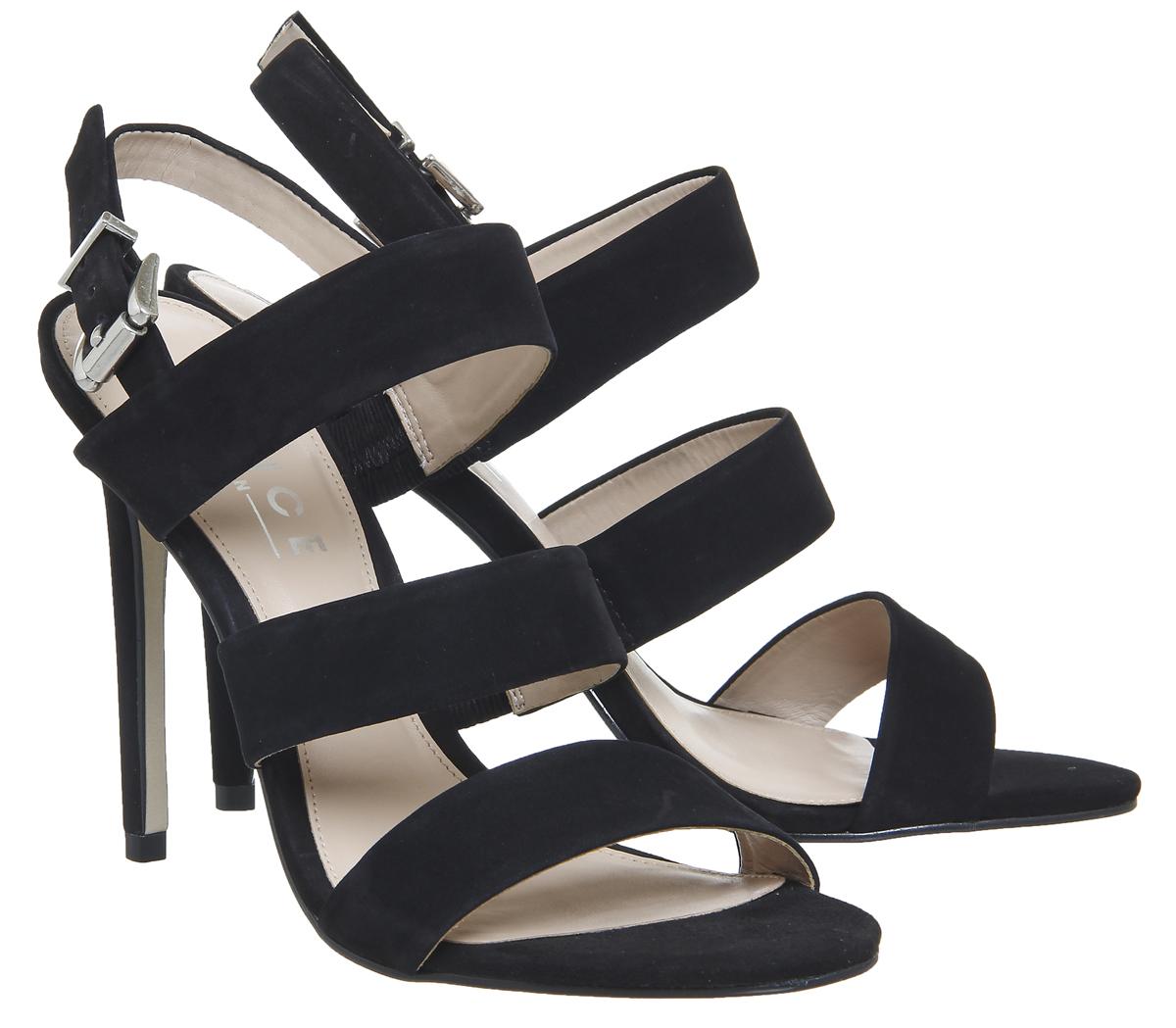 Mujer Zapatos De Tacón Correa de de Correa múltiples Oficina La Habana Negro Nubuck Tacones 11e627