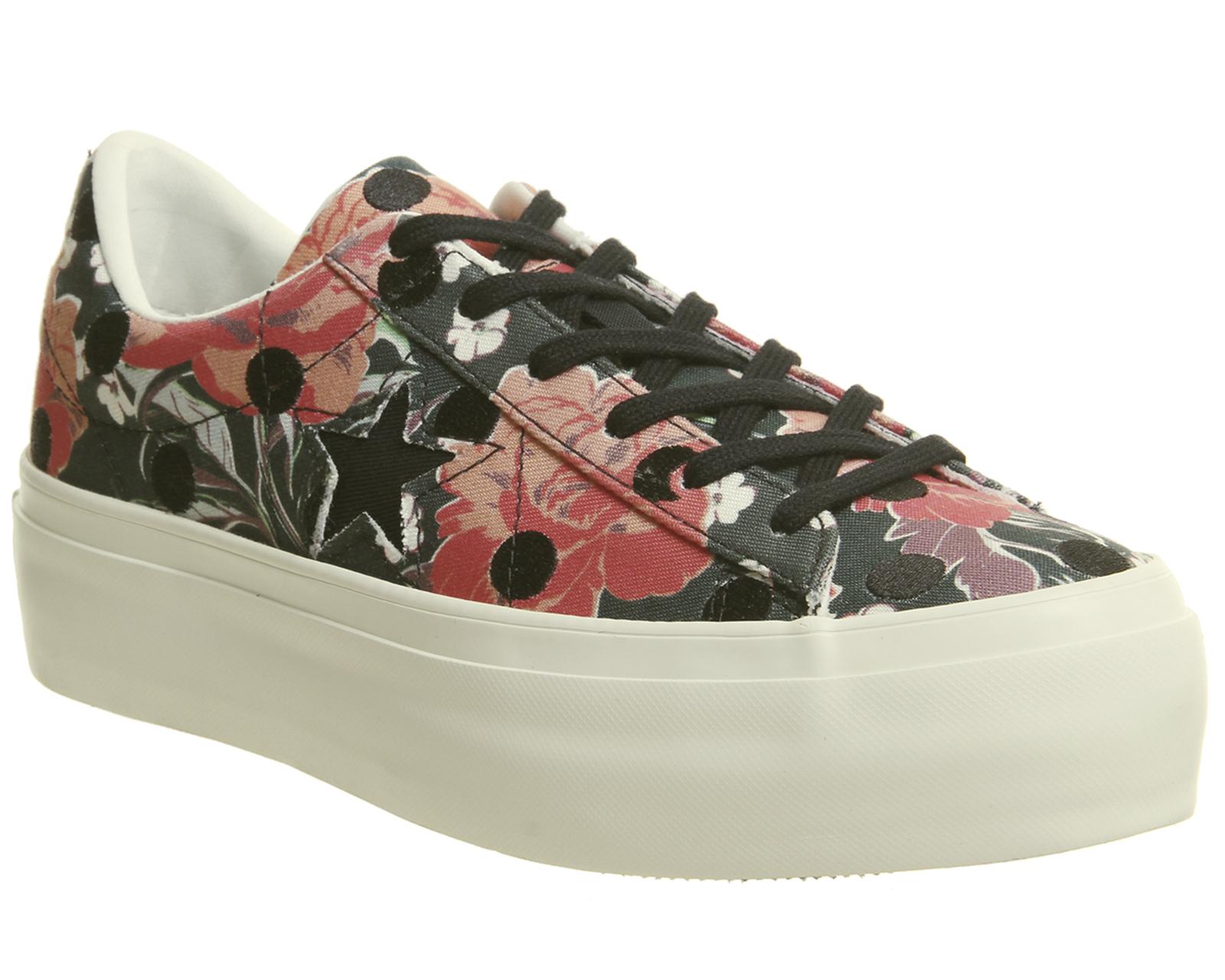739195949e0c6 Détails sur Chaussures Femme Converse One Star Plateforme Noir Nectarine  Egret polka Floral Baskets Sh- afficher le titre d origine