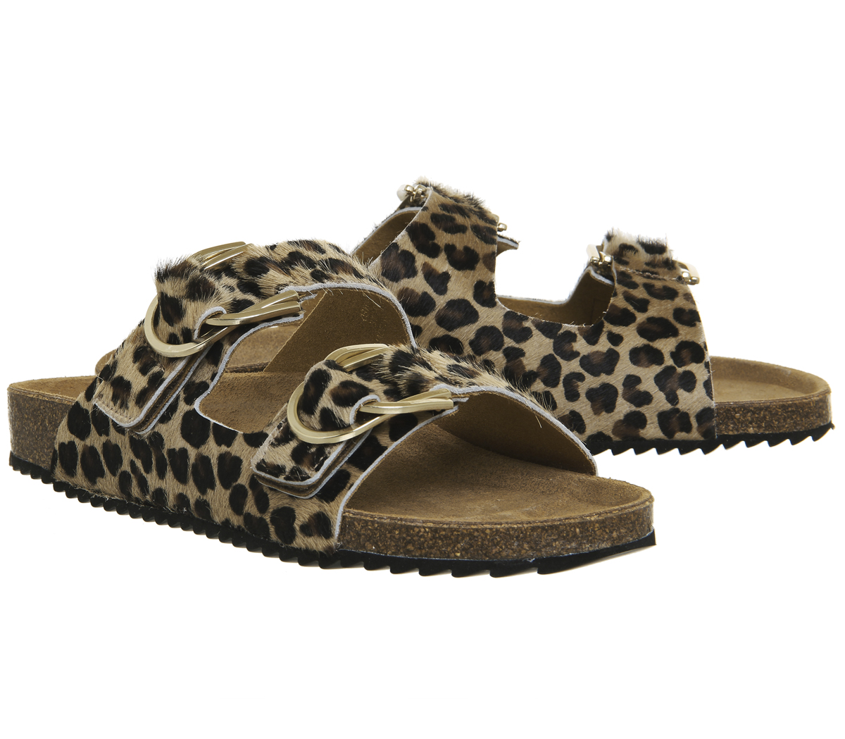 Damenschuhe Office Supersonic Sandales Footbed Sandales LEOPARD COW HAIR GOLD HARDWARE Sandales Supersonic 6ac443