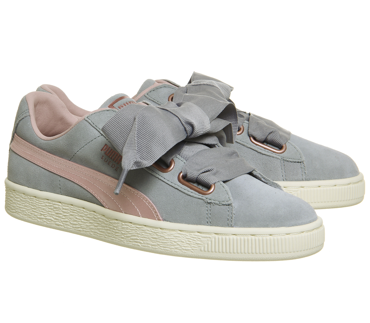 Argent Rose Rose Or Puma Femme Puma Suede Heart Trainers
