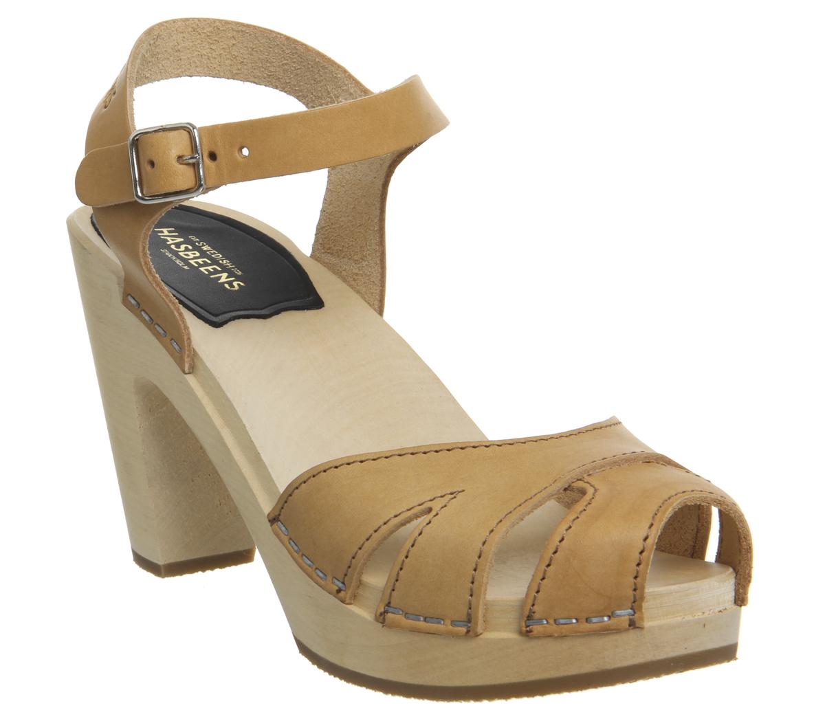 Womens Swedish Hasbeens Suzanne Hi Peep Toe Sandals NATURE Sandals