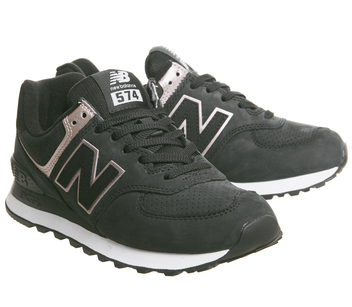 893457d7fb9 Womens New Balance 574 Trainers Black White Rose Gold Trainers Shoes ...
