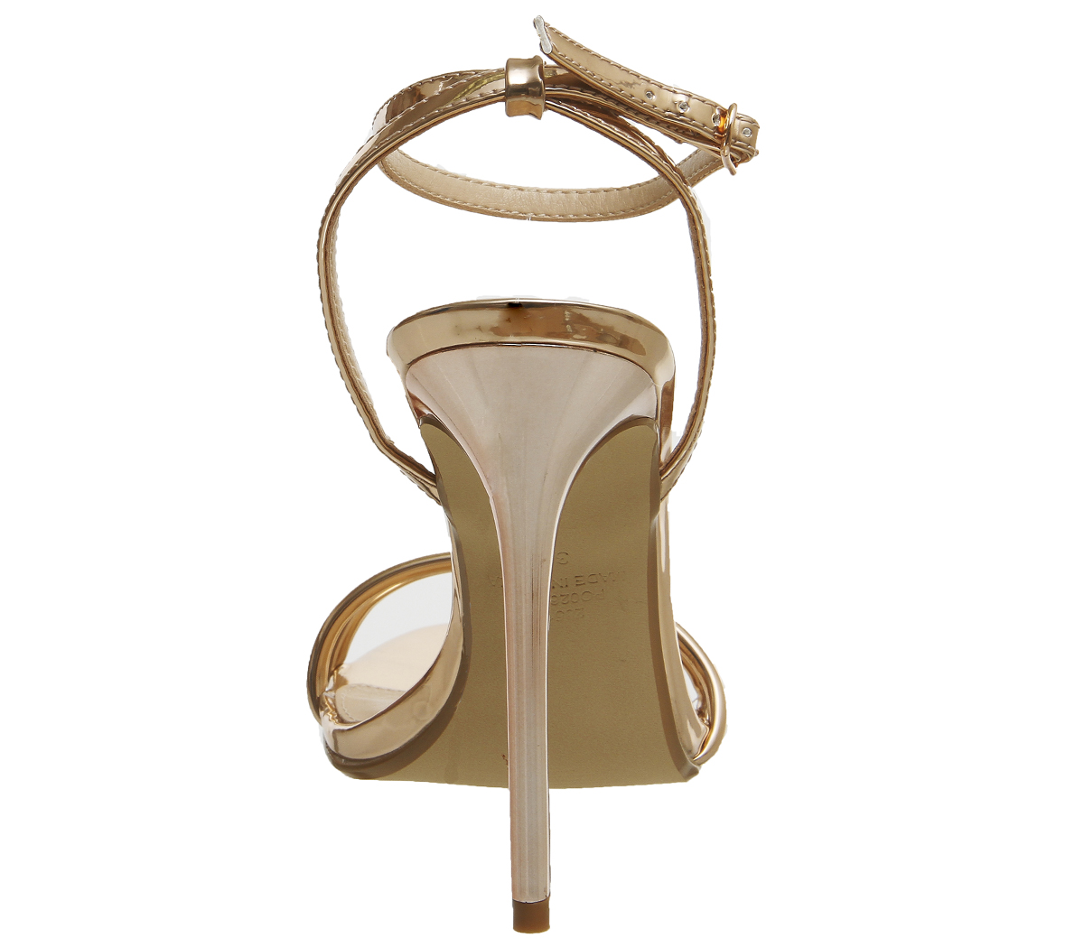 136d2d9859f Womens Office Hibiscus Two Part Sandals ROSE GOLD MIRROR Heels